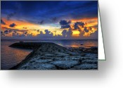 Pacific Ocean Photo Greeting Cards - Okinawan Sunset Greeting Card by Ryan Wyckoff