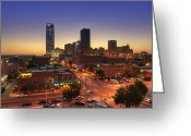 Highrises Greeting Cards - Oklahoma City Nights Greeting Card by Ricky Barnard