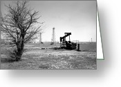Black And White Photo Greeting Cards - Oklahoma Oil Field Greeting Card by Larry Keahey