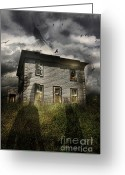 Haunted Home Greeting Cards - Old ababdoned house with flying ghosts Greeting Card by Sandra Cunningham