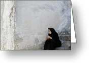 Older Woman Photo Greeting Cards - Old age woman sitting Greeting Card by Juan Carlos Ferro Duque