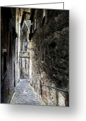 City Street Greeting Cards - old alley in Italy Greeting Card by Joana Kruse