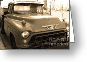 Old Chevrolet Truck Greeting Cards - Old American Chevy Chevrolet Truck . 7D10669 . sepia Greeting Card by Wingsdomain Art and Photography