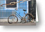 Blau Greeting Cards - Old and broken bicycle left alone Greeting Card by Matthias Hauser