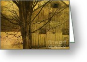 Barn Mixed Media Greeting Cards - Old and Crooked Greeting Card by Deborah Benoit