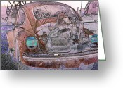 Old Volkswagen Car Greeting Cards - Old and Exposed Greeting Card by Jean OKeeffe