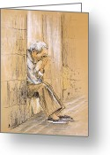 Person Pastels Greeting Cards - Old and Lonely in Spain 01 Greeting Card by Miki De Goodaboom