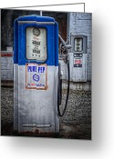 Gas Stations Greeting Cards - Old and rusty  pump  Greeting Card by Emmanuel Panagiotakis