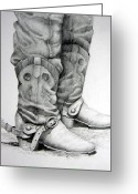 Western Pencil Drawing Greeting Cards - Old and Wrinkled Greeting Card by Suzy Pal Powell
