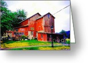 Old Out Houses Greeting Cards - Old Antique Barn Greeting Card by Annie Zeno
