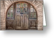 Entrance Door Greeting Cards - Old Archway and Door Greeting Card by Sandra Bronstein