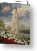 Grey Clouds Greeting Cards - Old Baldy Lighthouse Greeting Card by Wanda Dansereau