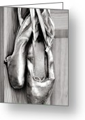 Ribbons Greeting Cards - Old ballet shoes Greeting Card by Jane Rix