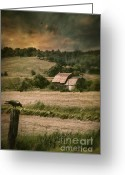 Omnimous Greeting Cards - Old barm in farm field at sunset Greeting Card by Sandra Cunningham