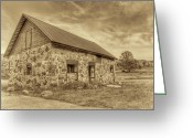 Tin Greeting Cards - Old Barn - Sepia Greeting Card by Scott Norris