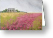Old Barn Pastels Greeting Cards - Old Barn and Red Clover Greeting Card by Christine Kane