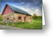 Wood Photo Greeting Cards - Old Barn at Dusk Greeting Card by Scott Norris