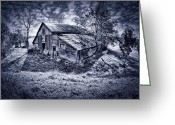 Silver And Black Greeting Cards - Old Barn Greeting Card by Donald Schwartz