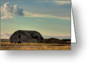 Deteriorated Greeting Cards - Old Barn In A Field Greeting Card by Matt Dobson