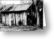 Shed Digital Art Greeting Cards - Old Barn In Black And White Greeting Card by Ronald T Williams