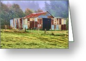 Shed Digital Art Greeting Cards - Old barn in the mist Greeting Card by Fran Woods