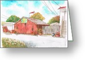 Arquitectura Greeting Cards - Old-barn-lompoc-ca Greeting Card by Carlos G Groppa