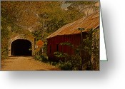 N Framed Prints Greeting Cards - Old Barn N Covered Bridge Greeting Card by Randall Branham