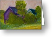 Craft Pastels Greeting Cards - Old Barns Greeting Card by Wynn Creasy