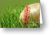 Infield Greeting Cards - Old baseball glove on the grass Greeting Card by Sandra Cunningham