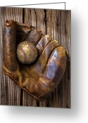 Gloves Greeting Cards - Old baseball mitt and ball Greeting Card by Garry Gay