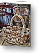 Wicker Baskets Greeting Cards - Old Baskets Greeting Card by Norma Warden