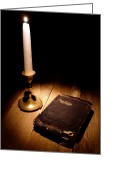 Sacred Photo Greeting Cards - Old Bible and Candle Greeting Card by Olivier Le Queinec