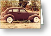 Old Postcards Greeting Cards - Old Black Plymouth Car For Sale . 7D8836 Greeting Card by Wingsdomain Art and Photography