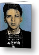 Bill Cannon Mixed Media Greeting Cards - Old Blue Eyes - Frank Sinatra Greeting Card by Bill Cannon