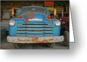 Rusted Cars Greeting Cards - Old Blue Farm truck Greeting Card by Randy Harris