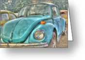 Rusted Cars Greeting Cards - Old Blue Greeting Card by Jean OKeeffe
