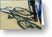 Bicycle Greeting Cards - Old BLue Greeting Card by Linda Apple