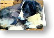 Yellow Dog Digital Art Greeting Cards - Old Blue Greeting Card by Mindy Newman