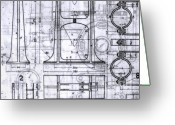 Accurate Greeting Cards - Old Blueprints Greeting Card by Yali Shi