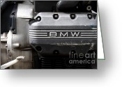 Engines Greeting Cards - Old BMW Motorcycle Engine . 7D13654 Greeting Card by Wingsdomain Art and Photography
