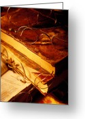 Watches Greeting Cards - Old books and glasses Greeting Card by Garry Gay
