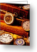 Antiques Greeting Cards - Old Books And Pocket Watches Greeting Card by Garry Gay