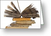 Time Stack Greeting Cards - Old books Greeting Card by Bernard Jaubert