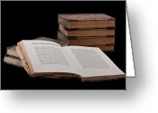 E Black Greeting Cards - Old Books Greeting Card by Gert Lavsen