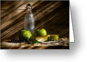 Delicious Greeting Cards - Old bottle with green apples Greeting Card by Sandra Cunningham