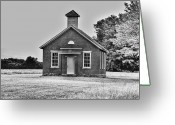  Originals Greeting Cards - Old Brick One Room School House Greeting Card by C Wayne Hennebert
