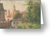 Old Bridge Greeting Cards - Old Bridge in Bruges  Greeting Card by Camille Pissarro