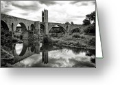 Grass Greeting Cards - Old Bridge With Reflection Greeting Card by By Gargomo