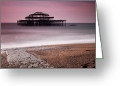 Rotten Greeting Cards - Old Brighton Pier Greeting Card by Nina Papiorek
