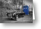 Selective Color Greeting Cards - Old British Police Car And Tardis Greeting Card by Yhun Suarez